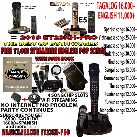 2019 MAGIC SING KARAOKE MIC ET23PROPH PINOY VIDEOKE - FREE FOREVER  STREAMING 11,000 POP ENGLISH SONGS WITH SONG BOOK