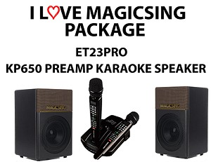 I Love MagicSing Package - Magicsing ET23pro bundled with magic sing kp-650 karaoke pre amp speaker system. kp-650 made by magic sing for magic sing