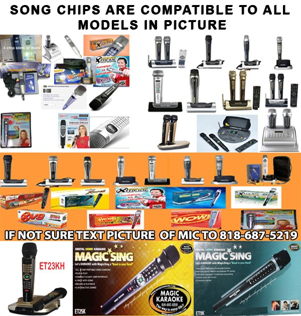 ANY 3 SONG CHIPS MAGIC SING KARAOKE MIC PACKAGE DEAL